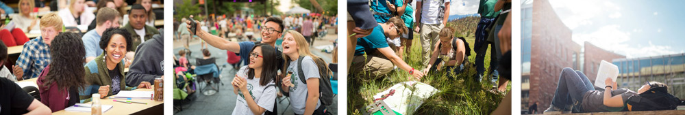 Photo banner: Students studying , socializing and doing mountain field work