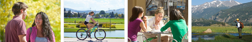 Photo banner: CSU students studying , socializing, bicycling and fly fishing