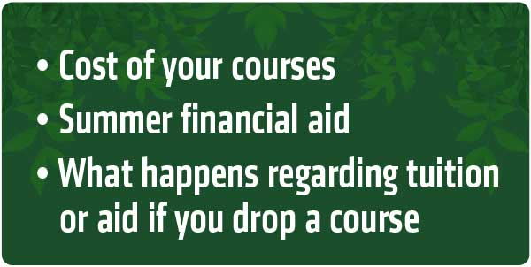 Contact financial aid for cost of your courses, summer financial aid, tuition and aid if dropping courses