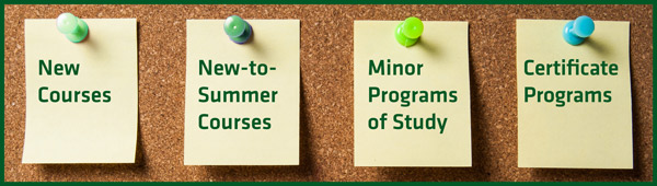 New, new-to-summer, and courses for minors and certificate programs